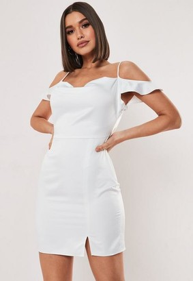 Missguided Tall White Cold Shoulder Satin Cowl Mini Dress