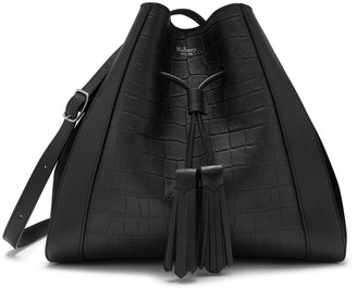 Mulberry Small Millie Tote Black Matte Croc and Suede