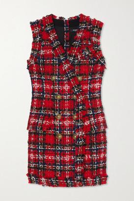 Balmain Frayed Checked Tweed Mini Dress - Red