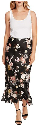 Vince Camuto Beautiful Blooms Maxi Skirt w/ Side Slits (Rich Black) Women's Skirt