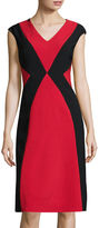 London Times London Style Collection Cap-Sleeve Colorblock Sheath Dress