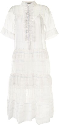 Lee Mathews Sandy sheer chiffon ruffle dress
