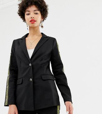 NA-KD Na Kd popper detail blazer in black with tiger stripe-Multi