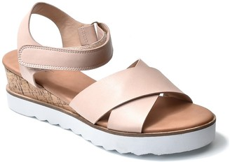Nicole Miller Magaine Cross Strap White Sole Wedge Sandal