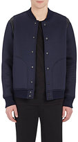 Barneys New York MEN'S LEATHER-INSET BONDED JERSEY BOMBER JACKET-NAVY SIZE L