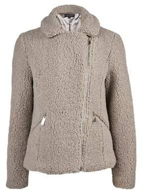 Dorothy Perkins Womens Grey Teddy Fabric Biker Jacket, Grey