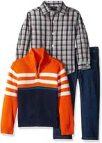 Nautica Little Boys' Toddler Three Piece Set with A Woven Shirt Quarter Button Sweater and Pant