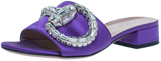 Gucci Purple Satin Maxime Crystal Icon Bit Open Toe Slides Sandals Size 36.5