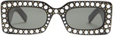 Gucci Faux-pearl embellished acetate sunglasses