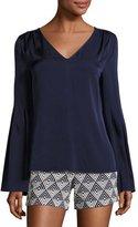 Trina Turk Iolana Bell-Sleeve Stretch Silk Top, Blue
