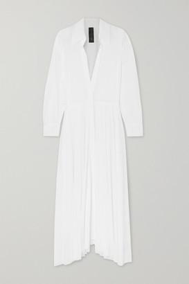 Norma Kamali Pleated Gauze Maxi Dress - White