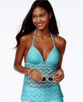 Hula Honey Crochet Cutout Push-Up Tankini Top