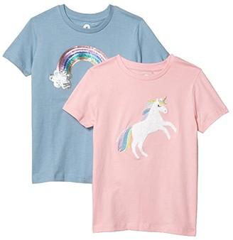 Cotton On Stevie Short Sleeve Embellished 2-Pack Tees (Toddler/Little Kids/Big Kids) (Marshmallow Unicorn/Dusty Blue Rainbow) Girl's Clothing
