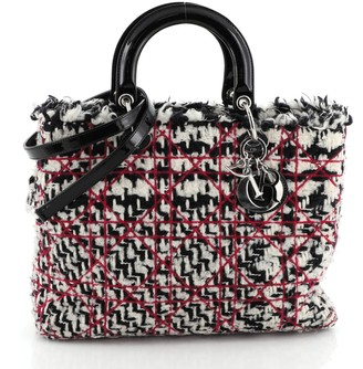 Christian Dior Lady Bag Cannage Quilt Tweed with Patent Large