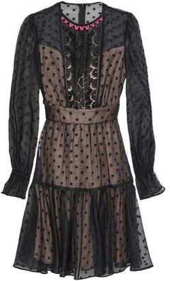 Temperley London Prix Lace-paneled Flocked Cotton-blend Organza Mini Dress