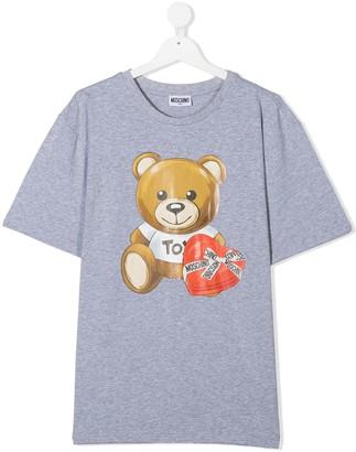 MOSCHINO BAMBINO TEEN logo print crew neck T-shirt