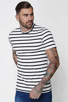 boohoo Muscle Fit Stripe T-Shirt