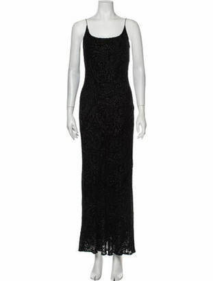 Carmen Marc Valvo Scoop Neck Long Dress Black