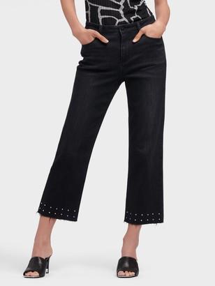 DKNY Women's Slim Straight Jean With Studded Hem - Black - Size 25