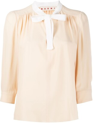 Marni Pussy Bow Pleated Blouse