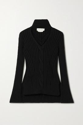 Alexander McQueen Cutout Cable-knit Wool-blend Turtleneck Sweater - Black
