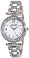 August Steiner Women's AS8137SS Genuine Diamond Silver-Tone Watch