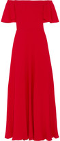 Valentino Off-the-shoulder Silk-georgette Gown - Red