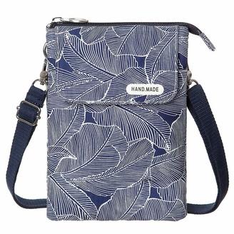 LassZone Women Multi-Pocket Cell Phone Wallet Purse Mini Girls Canvas Handbag Leaves Pattern Small Crossbody Shoulder Bags