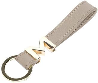 Mocha M Leather Key Ring -