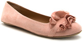 Qupid Pale Pink Ruffle-Accent Ballet Flat
