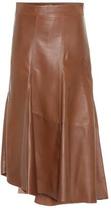 Brunello Cucinelli High-rise leather midi skirt
