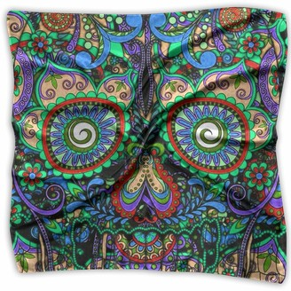 Not Applicable Vintage Mexican Sugar Skulls Day of The Dead Flower Heart Womens Stylish Soft Satin Silk Feeling Elegant Formal Square Neck Scarf Head Hair Wraps