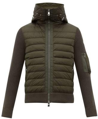 Moncler Hooded Quilted And Knitted Cardigan - Mens - Khaki