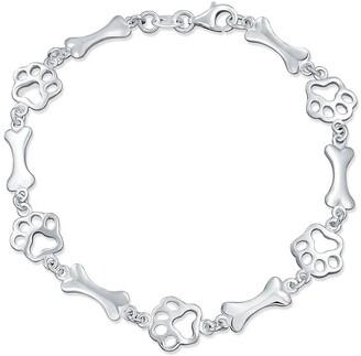 Bling Jewelry Sterling Silver Pet Lover Dog Paw Print & Bone Charm Bracelet