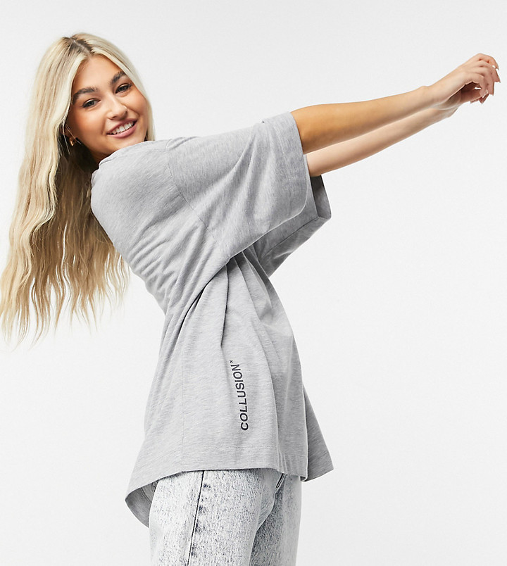Collusion super oversized t-shirt with logo in gray heather