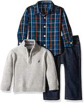 Nautica Baby Three Piece Set with Woven, Quarter Zip Sweater, Denim Jean