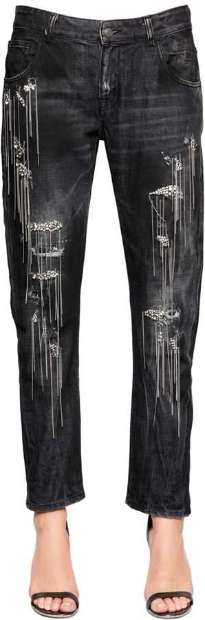 Amen Chain & Crystals Cotton Denim Jeans