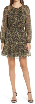 Adelyn Rae Vania Print Pleats & Ruffles Long Sleeve Minidress