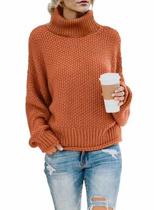 LOSRLY Women's Winter Casual Turtleneck Solid Color Drop Shoulder Cable Knit Sweater Chunky Sweater