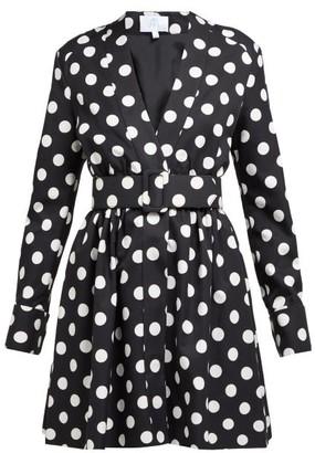 Rebecca De Ravenel Polka-dot Cotton-blend Dress - Womens - Black White
