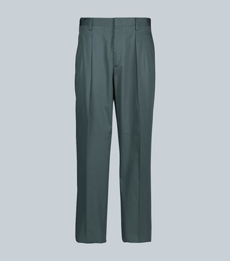 Valentino double-pleated cotton-silk pants