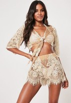 Missguided Premium Nude Co Ord Lace Scallop Hem Beach Shorts
