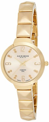 Akribos XXIV Women's Swiss Quartz Watch - 16 genuine diamond markers - With Diamond Dial and Pyramid Cut Chain Bracelet - AK793