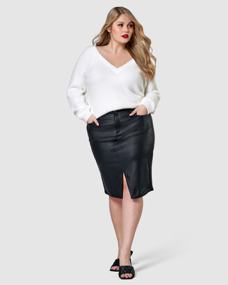 Sunday In The City - Women's Black Denim skirts - Whip It Pencil Skirt - Size One Size, 12 at The Iconic