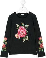 Dolce & Gabbana rose print top - kids - Cotton/Polyamide/Polyester/Viscose - 4 yrs