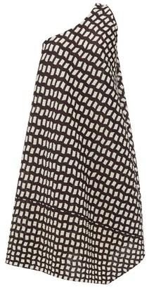 Pleats Please Issey Miyake Check-print One-shoulder Jersey Midi Dress - Womens - Black White