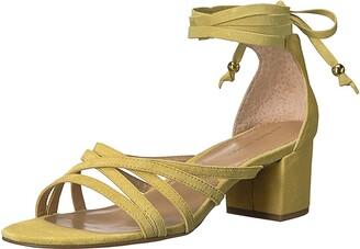 Adrienne Vittadini Footwear Women's Alesia Block Heel Dress Sandal Lemon Zest Kid Suede 9 M US