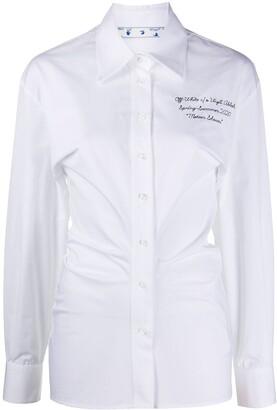 Off-White Draped-Detail Long-Sleeved Shirt