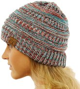 SK Hat shop CC Quad Color Warm Chunky Thick Stretchy Knit Slouchy Beanie Skull Cap Hat