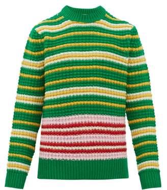 Acne Studios Kai Striped Wool Sweater - Mens - Green Multi